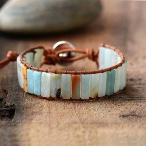 Bracelet Amazonite bead brown Leather Wrap
